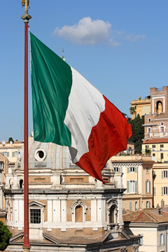 Italian flag flying at Vittorio Emmanuel II monument - Rome, Italy